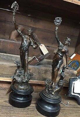 Masonic Pair Of Spelter Figures On Ebonised Plynth