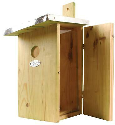 Wooden Bird Nesting Box House Observation Viewing Panel 39cm Wildlife