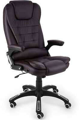 Office Desk Chair Brown Gaming PU Leather Adjustable Swivel Executive Computer