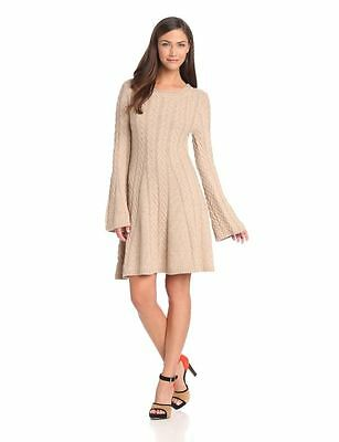 Bcbg Maxazria Sweater Dress Size Small Cream Color Knee Length Wool