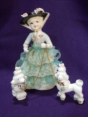 Vintage Victorian Lady in Hat with 2 Rose Poodles on Chain Leash 1950s Figurines