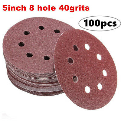 100pcs 40grits Sanding Discs,Dustless Hook and Loop Sander Paper 5 Inch 8 Hole