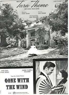 """Tara Theme"" Easy Piano Sheet Music-Gone With The Wind-1966-Rare-New On Sale!!"