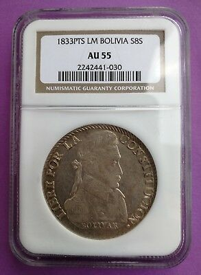 Bolivia 8 Soles 1833 PTS LM NGC AU55 Nice coin!!!