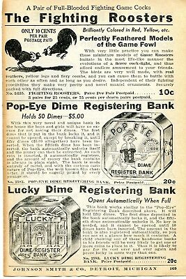 1935 small Print Ad of Fighting Roosters, Popeye & Lucky Dime Registering Bank