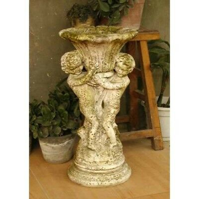 "Putti & Fan Urn Cherub Garden Patio Statue Sculpture Handcrafted USA 20""H"