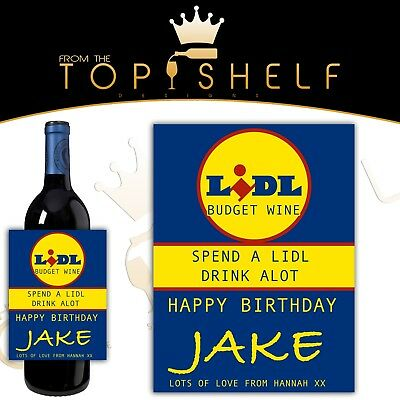 personalised funny wine bottle label birthday any occasion aldi