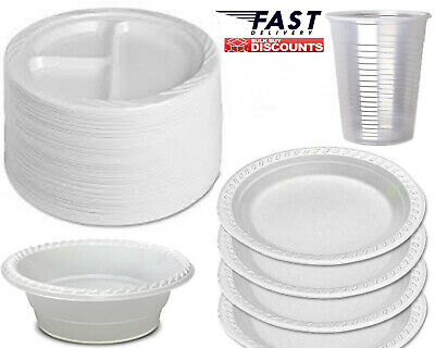 Strong Disposable Plastic Plates Bowls White Round Plate For Party Catering