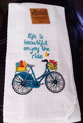 NEW LONGABERGSTORE Homestead Bicycle Embroidered Kitchen Waffle Towel