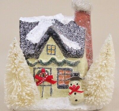 Teena Flanner Of Cannon Falls Paper Mache Christmas House W/snowman-Brush Trees!