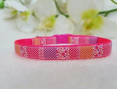 Cutie Pie Neon Pink Cat, Kitten Collar And Bell. Safety Buckle.2 Sizes