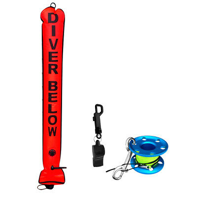 Scuba Diving Safety Sausage SMB Surface Marker Buoy + Dive Reel + Whistle