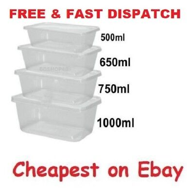 Clear Plastic Container + Lids Takeaway Microwave Freezer Safe-For Food Storage