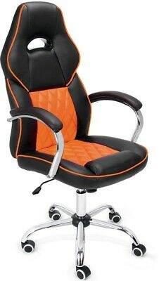 Office Desk Chair Orange Gaming PU Leather Adjustable Swivel Executive Computer