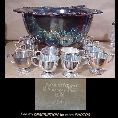 Antique 1847 Rogers Bros Silver Plate 14pc Punch Bowl Ladle 12 Cups Heritage