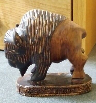 Vintage ST. JOSEPH'S INDIAN SCHOOL BUFFALO Wood Resin PAPERWEIGHT Figurine