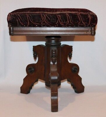 TONK Victorian Eastlake Swivel Adjustable Piano Organ Stool - very nice