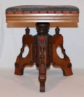 CROLLMAN Victorian Eastlake Swivel Adjustable Piano Organ Stool - very nice