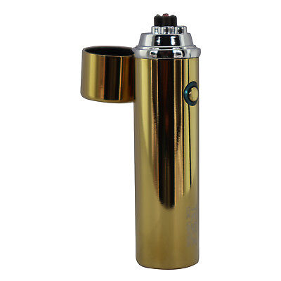 Tesla Coil Circular USB Rechargeable Windproof Cigarette Dual Arc Lighter - Gold