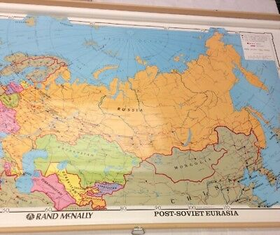Rand McNally Post Soviet Eurasia #10620 Pull Down Map Made In USA 06085SH