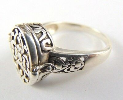 Victorian Style Vintage Heavy Sterling Silver Poison Ring - Size UK X - Gothic