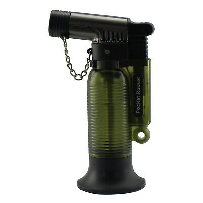 Pocket Rocket Single Jet Flame Butane Cigarette Cigar Torch Lighter – Green
