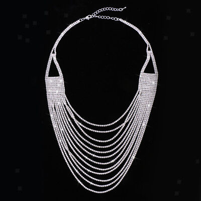Fashion Women Girls Multi-Layer Crystal Necklace Jewelry Accessories