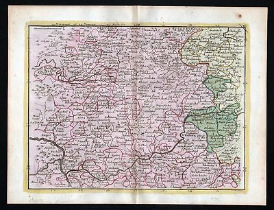1759 Wetzlar Windeck Hachenburg Karte map Kupferstich antique print Le Rouge