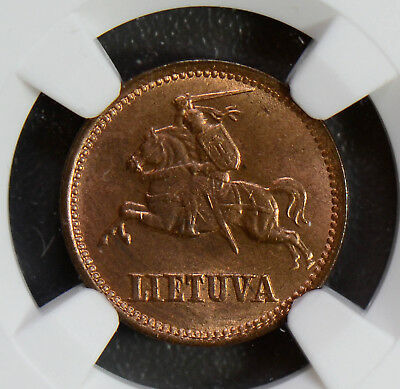 Lithuania 1936 Centas NGC MS64RB mostly red NG0527 combine shipping