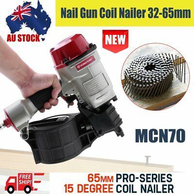 Pneumatic MCN70 Nail Gun Coil Nailer 32-65mm For Roofing Fencing Framing AU HS