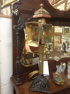 Converted antique brass carriage lamp