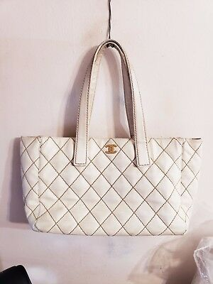 4a16b4e2b990 CHANEL Calf Skin Leather Wild Stitch Shopper Tote Shoulder Bag Handbag Purse