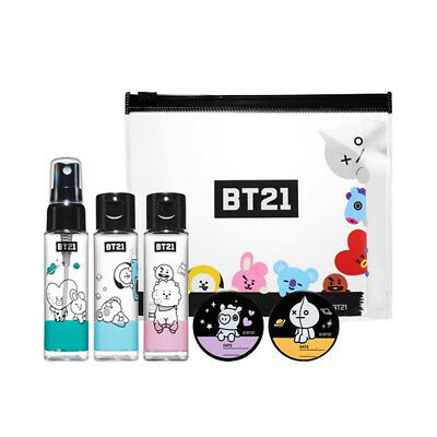 Official Bt21 Cosmetic Container Kit Olive Young, Tata Cooky Authentic Bt21 Kpop