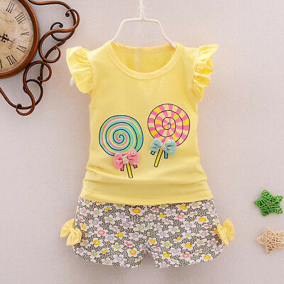 2PCS Lovely Toddler Baby Girls Outfits Lolly T-shirt  Short Pants Clothes Set