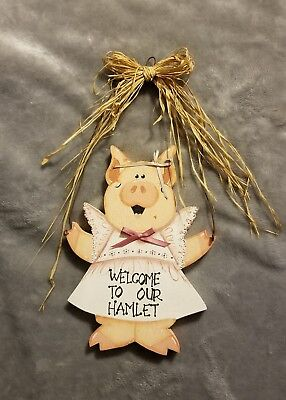 *welcome To Our Hamlet* Hanging Wooden Folk Art Pig Sign