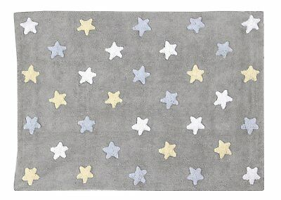 Lorena Canals C-ST-B Tricolor Stars Grey Blue Washable Rug Blu