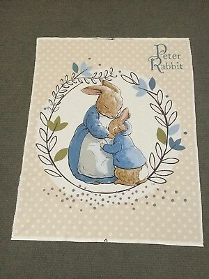 Peter Rabbit Fabric Panel Baby Nursery Cot Quilt Panel Bunny Quilting Cotton