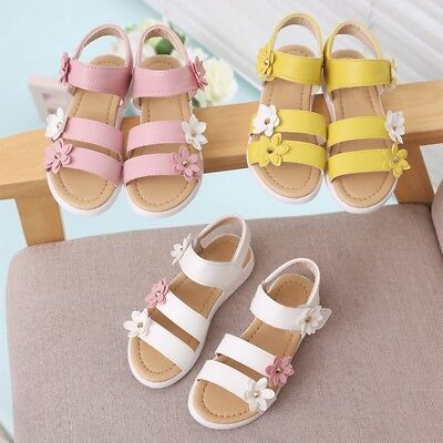 Princess Girls Summer Flower Sandals Shoes Baby Toddler Flat Shoes Cute Sandals