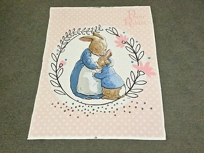 Peter Rabbit Fabric Panel Baby Girl Nursery Cot Quilt Panel Bunny Beatrix Potter