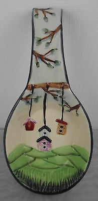 Birdhouse Spoon Rest Collectible birds trees rural country Dark Blue edging