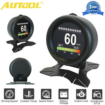 AUTOOL X60 12V Car OBD2 Digital Turbo Boost Pressure Meter Alarm Multi-function