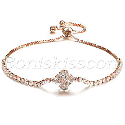 Women's Stainless Steel Four-leaf Clover Charms Freely Adjustable Bracelet Chain