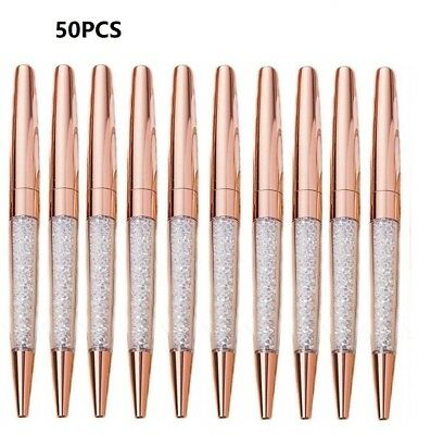 50 x Rose Gold Diamond Crystalline Stardust Made With Crystals Ballpoint Pen
