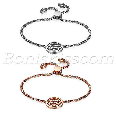 Women's Stainless Steel Hollow Camellia Charms Freely Adjustable Bracelet Chain