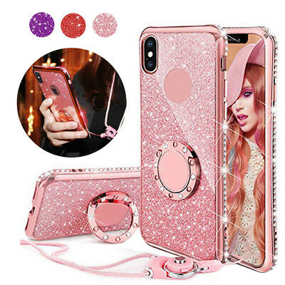 For iPhone XS XR X 8 7 Ring Holder Bling Glitter Sparkle Protective Case Cover