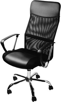 Office Chair Leather Mesh Back Support Computer Swivel Desk Executive PU Black