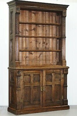 Early Victorian Bookcase In The Gothic Pugin Manor Hand Carved Solid English Oak