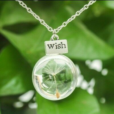 Real Dandelion Seeds In Glass Ball Wish Bottle Chain Necklace Pendant Jewelry