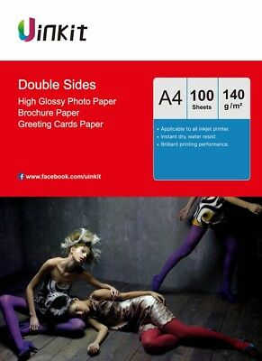 100 Sheets A4 Size 140Gsm Double Sides High Glossy Inkjet Photo Paper Uinkit