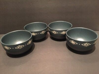 POTTERY BARN Green Bongo Soup Cereal Bowl Southwestern Pattern Lines ...